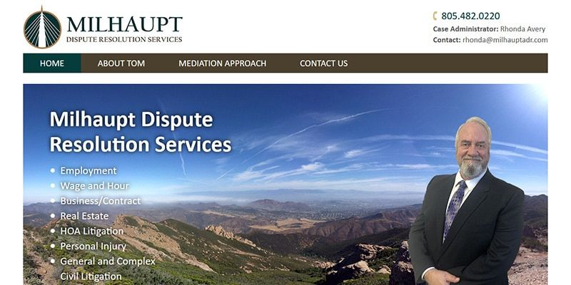 Milhaupt Dispute Resolution Services law website.