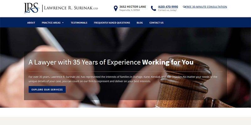 Lawrence R Surinak law website.